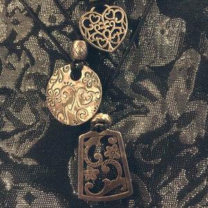 Jewelry - Black Cord with Silver Pendant Trio Necklace